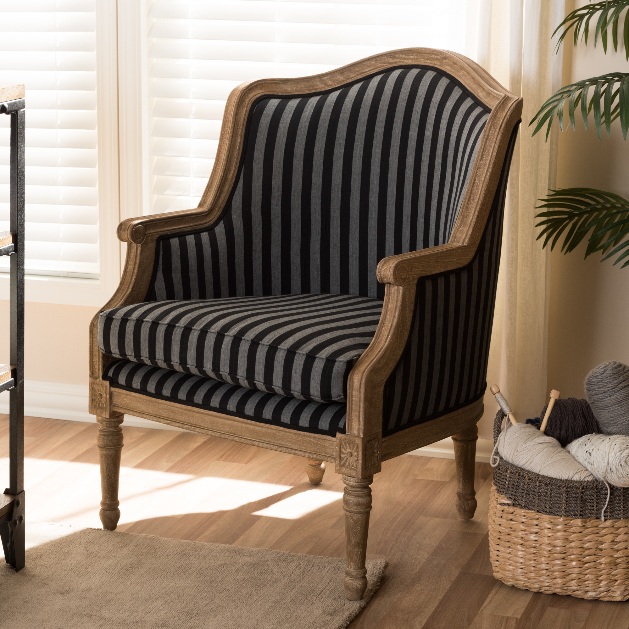 ... Baxton Studio Charlemagne Traditional French Black And Grey Striped  Accent Chair   ASS378Mi CG4 ...