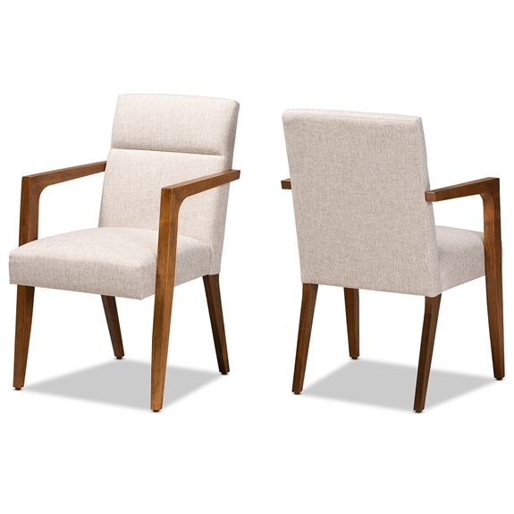 Baxton Studio Andrea Mid-Century Modern Beige Fabric Upholstered and Walnut Brown Finished Wood Armchair