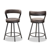 Baxton Studio Arcene Rustic and Industrial Grey Faux Leather Upholstered Pub Stool Set of 2 Baxton Studio restaurant furniture, hotel furniture, commercial furniture, wholesale bar furniture, wholesale bar stool, classic bar stools