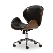 Baxton Studio Bruce Walnut and Black Modern Office Chair Baxton Studio Bruce Walnut and Black Modern Office Chair, wholesale furniture, restaurant furniture, hotel furniture, commercial furniture
