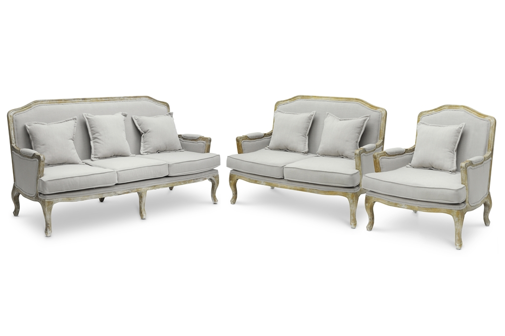 Baxton studio constanza classic antiqued french sofa set for Whole living room furniture sets