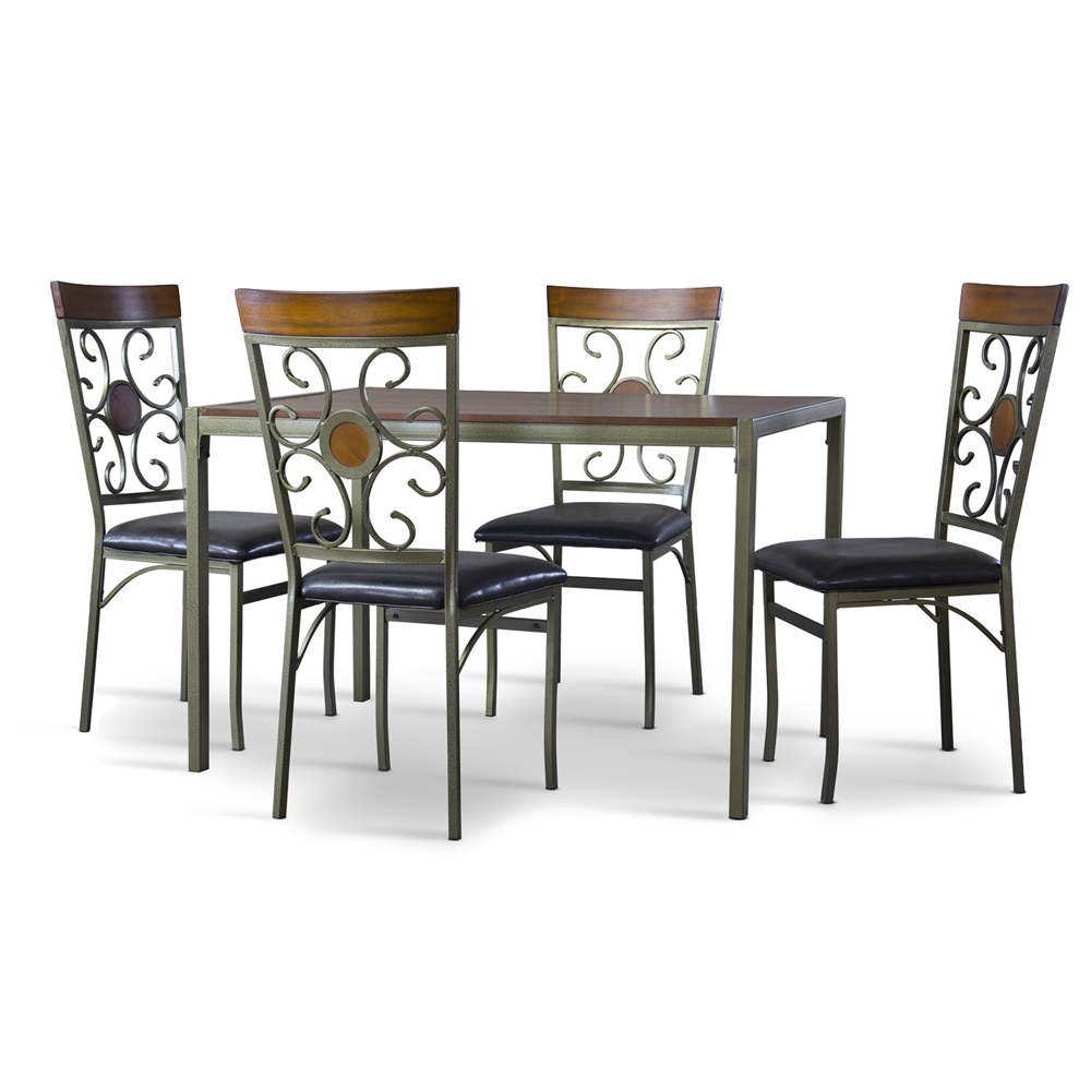 Baxton Studio Fiore Wood And Metal 7 Piece Transitional Dining Set Wholesale Interiors