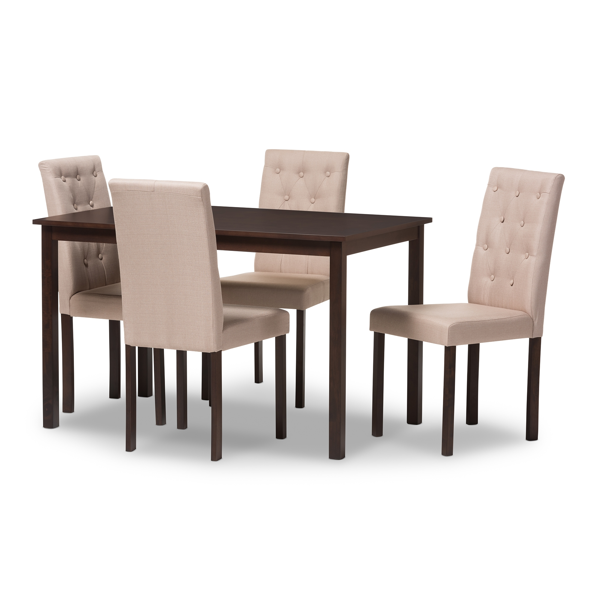 Baxton Studio Gardner Modern And Contemporary 5 Piece Dark Brown Finished  Beige Fabric Upholstered Dining ...