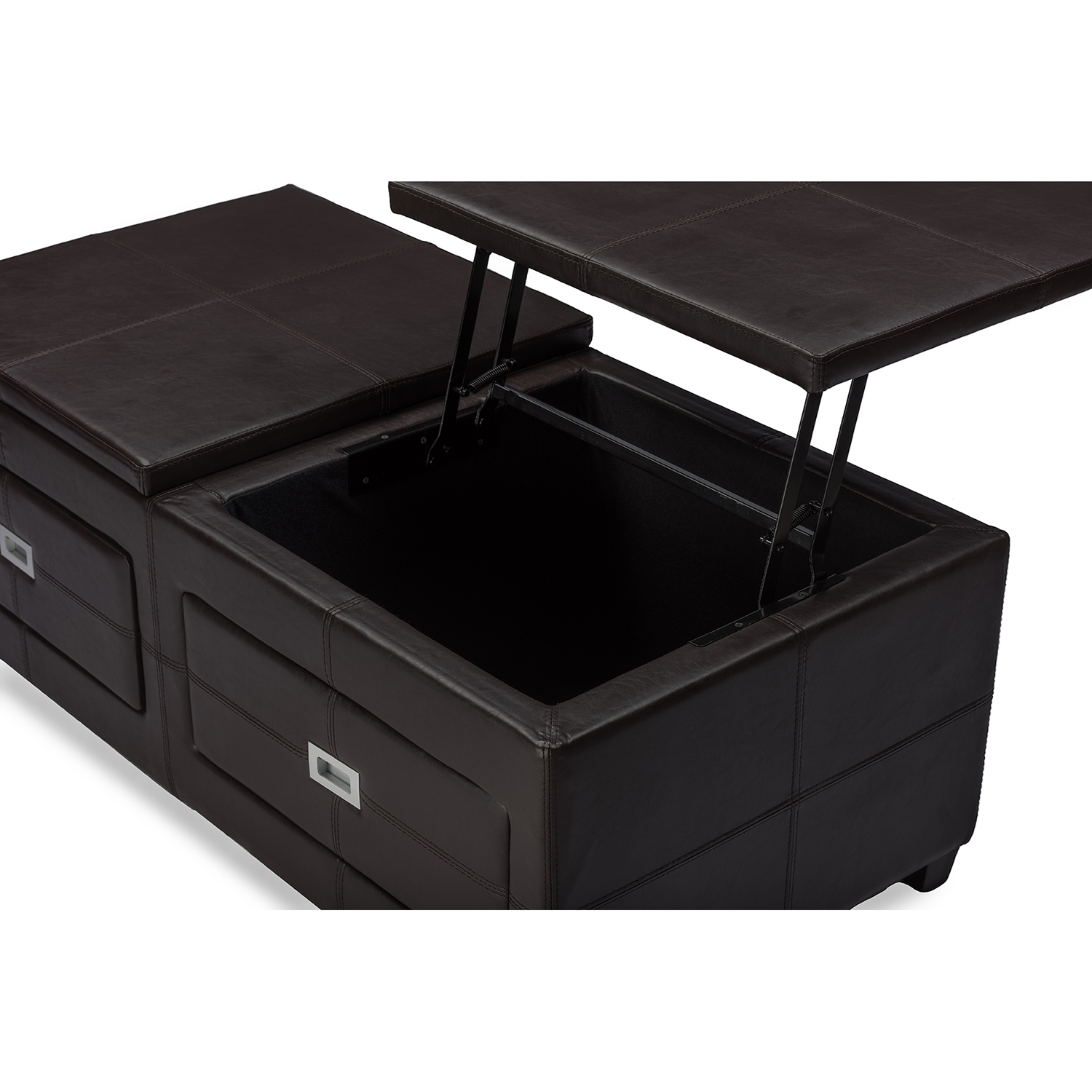 ... Baxton Studio Indy Modern And Contemporary Functional Lift Top Cocktail  Ottoman Table With Storage Drawers ...