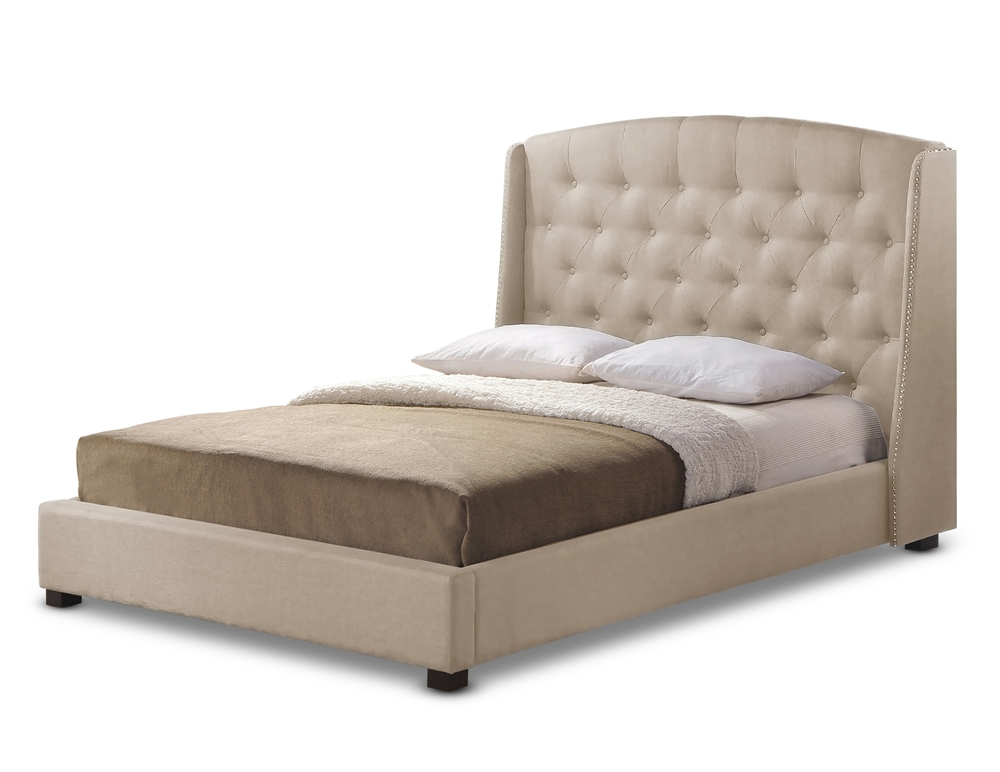 Baxton Studio Ipswich Light Beige Linen Modern Platform Bed Queen Size Wholesale Interiors
