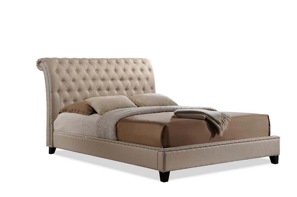 Wayfair Tufted Headboard Tufted Headboard In Bedroom: Baxton Studio Jazmin Tufted Light Beige Modern Bed With