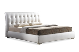 Baxton Studio Jeslyn White Modern Bed with Tufted Headboard - King Size Baxton Studio Jeslyn White Modern Bed with Tufted Headboard - King Size, wholesale furniture, restaurant furniture, hotel furniture, commercial furniture