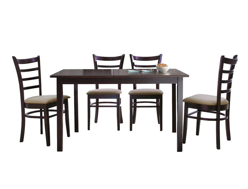 Lanark dark brown 5 piece modern dining set wholesale for Contemporary dining set
