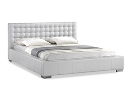 Baxton Studio Madison White Modern Bed with Upholstered Headboard - King Size Madison White Modern Bed with Upholstered Headboard - King Size, wholesale furniture, restaurant furniture, hotel furniture, commercial furniture