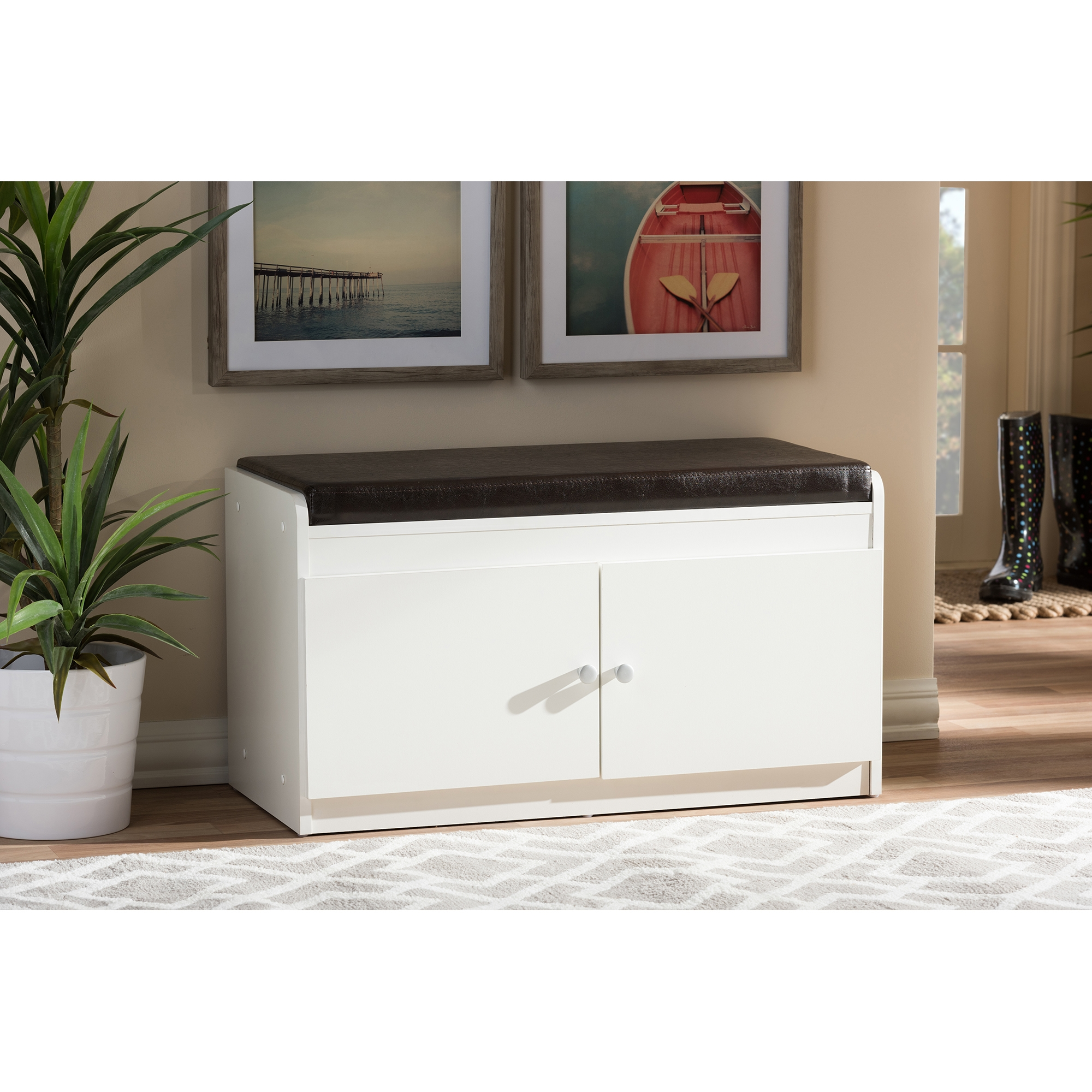 ... Baxton Studio Margaret Modern And Contemporary White Wood 2 Door Shoe  Cabinet With Faux Leather ...