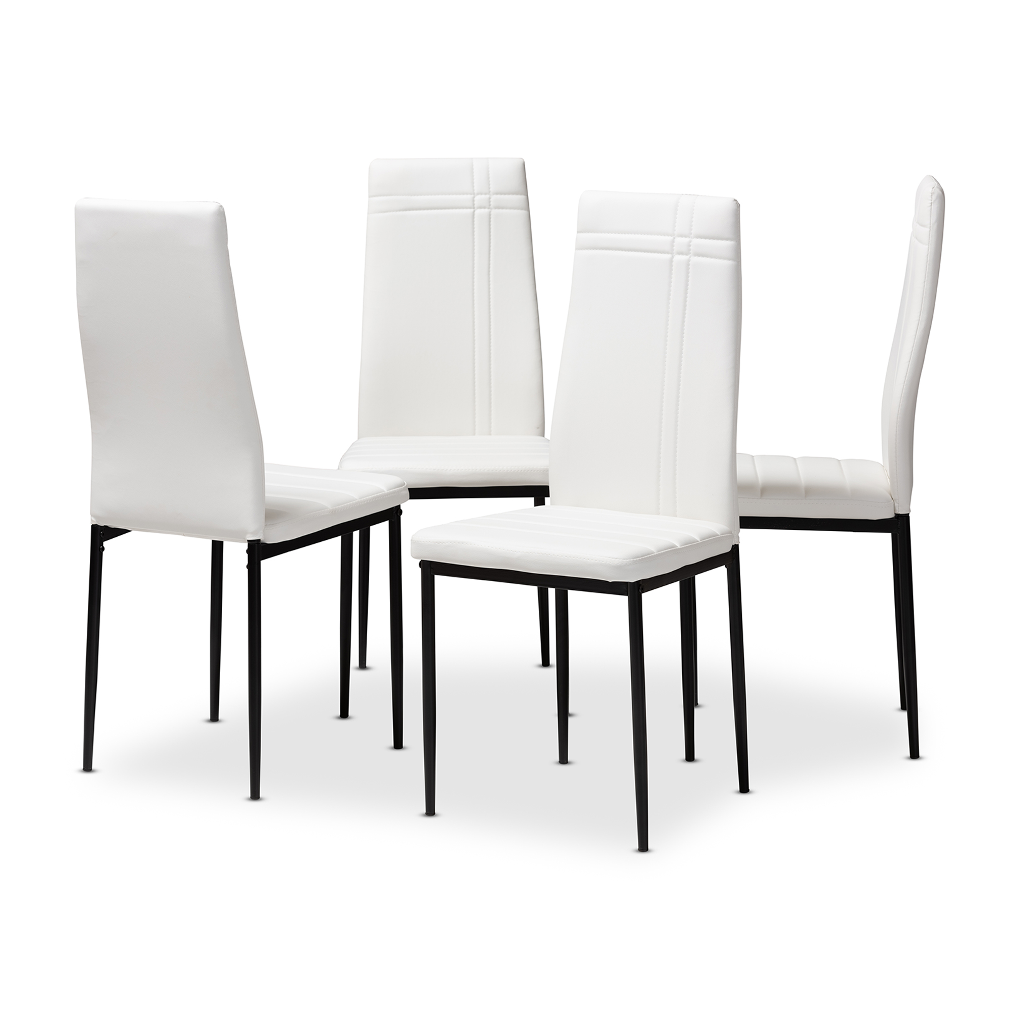 Chairs 9 Dining Chairs Metal Leg Faux Leather Padded Seat Kitchen ...