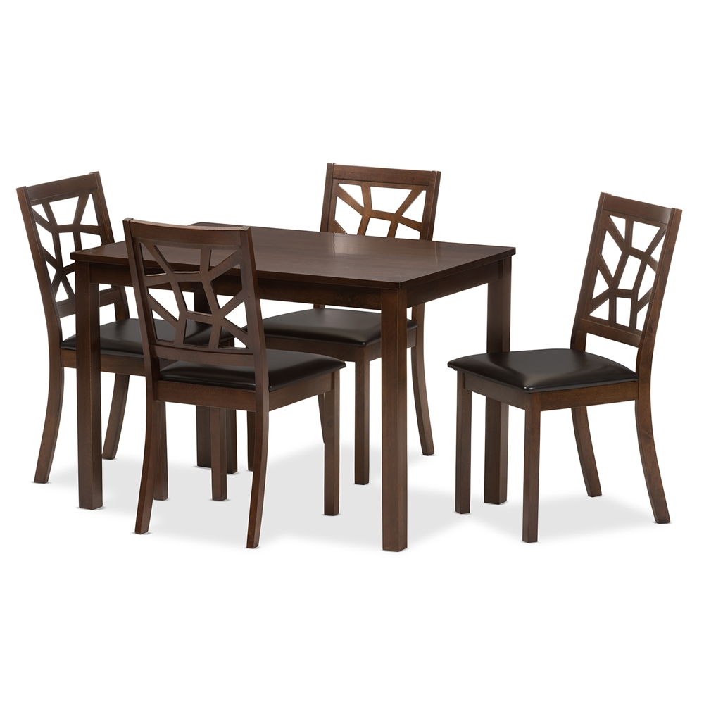 Mozaika Black Leather Contemporary 5 Piece Dining Set1 Table And 4