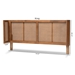 Baxton Studio Rina Mid-Century Modern Ash Wanut Finished Wood and Synthetic Rattan Full Size Wrap-Around Headboard - MG97151-Ash Walnut Rattan-Full-Headboard