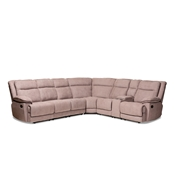 Baxton Studio Sabella Modern and Contemporary Dark Brown Fabric 7-Piece Reclining Sectional Baxton Studio restaurant furniture, hotel furniture, commercial furniture, wholesale living room furniture, wholesale sectional sofa