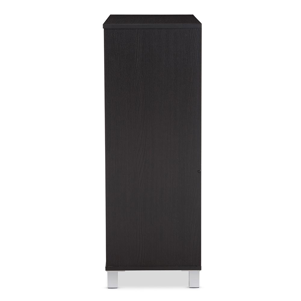 411cfef56d1 ... Baxton Studio Shirley Modern and Contemporary Dark Brown Wood 2-Door  Shoe Cabinet with Open ...