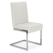 Baxton Studio Toulan Modern and Contemporary White Faux Leather Upholstered Stainless Steel Dining Chair (Set of 2) Baxton Studio Toulan Modern and Contemporary White Faux Leather Upholstered Stainless Steel Dining Chair (Set of 2), wholesale furniture, restaurant furniture, hotel furniture, commercial furniture