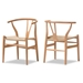 Baxton Studio Wishbone Chair - Natural Wood Y Chair (Set of 2) - DC-541