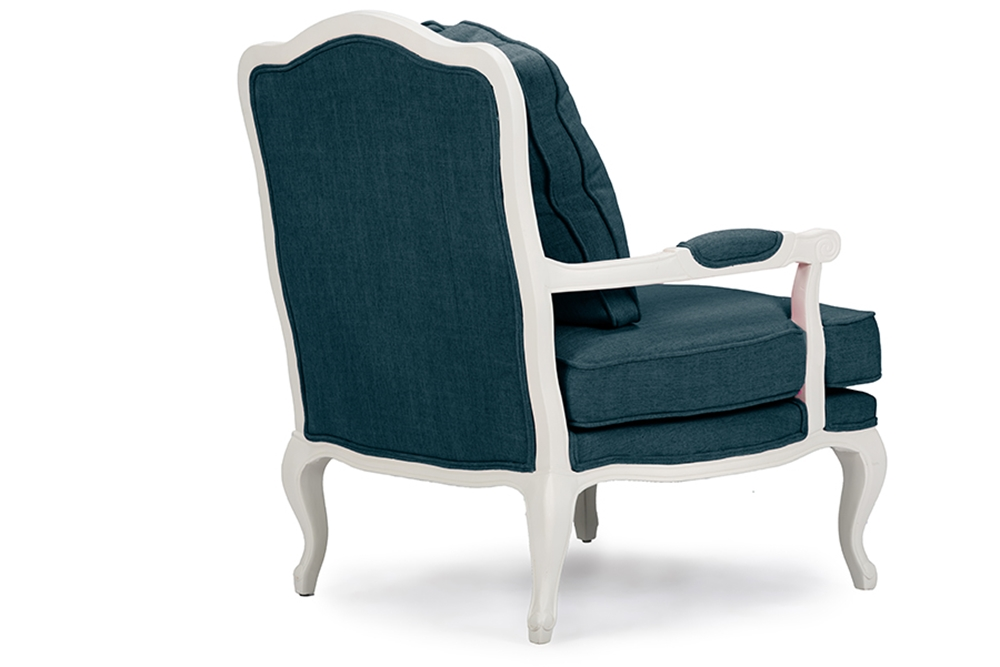 Baxton Studio Antoinette Classic Antiqued Azure Fabric French Accent Chairone 1 Accent Chair