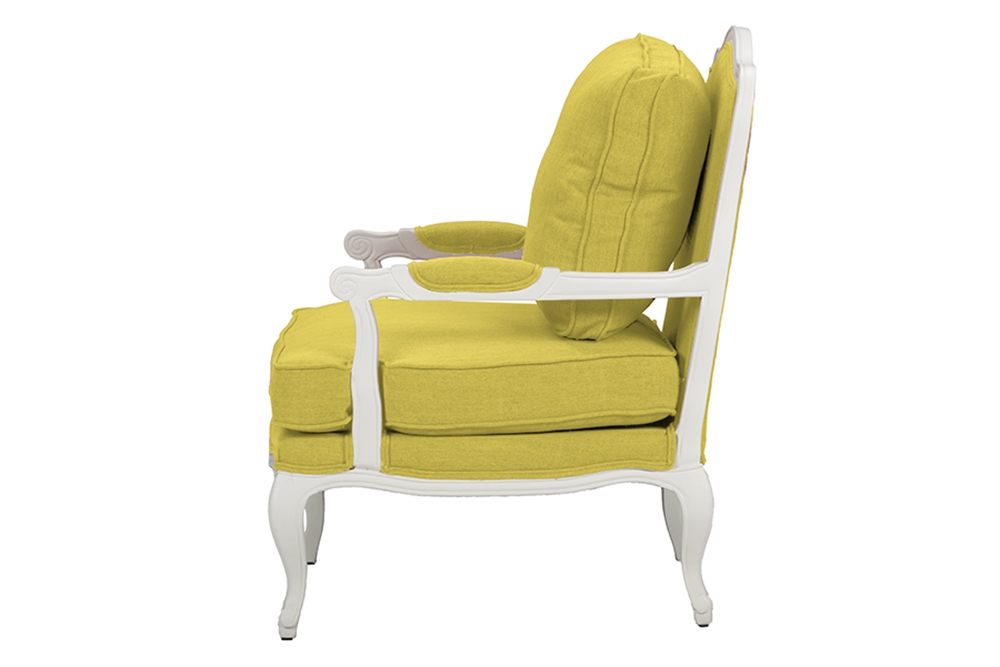 Baxton Studio Antoinette Classic Antiqued Yellow Fabric French Accent Chairone 1 Accent Chair