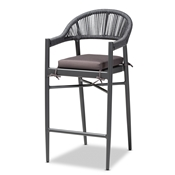 Baxton Studio Wendell Modern and Contemporary Grey Finished Rope and Metal Outdoor Bar Stool Baxton Studio restaurant furniture, hotel furniture, commercial furniture, wholesale outdoor furniture, wholesale outdoor, classic outdoor