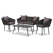 Baxton Studio Stewart Modern and Contemporary Grey Fabric Upholstered and Grey Finished Metal 4-Piece Outdoor Patio Set Baxton Studio restaurant furniture, hotel furniture, commercial furniture, wholesale outdoor furniture, wholesale outdoor, classic outdoor