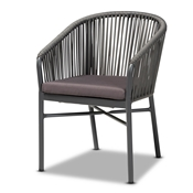 Baxton Studio Marcus Modern and Contemporary Grey Finished Rope and Metal Outdoor Dining Chair Baxton Studio restaurant furniture, hotel furniture, commercial furniture, wholesale outdoor furniture, wholesale outdoor, classic outdoor