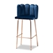 Baxton Studio Kaelin Luxe and Glam Navy Blue Velvet Fabric Upholstered and Rose Gold Finished 4-Piece Bar Stool Set - BA-11-Navy Blue/Rose Gold-BS-4PC Set