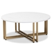 Baxton Studio Maeve Modern and Contemporary Gold Finished Metal Coffee Table With Faux Marble Tabletop