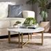Baxton Studio Maeve Modern and Contemporary Gold Finished Metal Coffee Table With Faux Marble Tabletop - WS-12222-CT