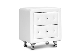 Baxton Studio Stella Crystal Tufted White Upholstered Modern Nightstand Baxton Studio Stella Crystal Tufted White Upholstered Modern Nightstand, wholesale furniture, restaurant furniture, hotel furniture, commercial furniture