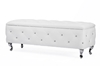 Wholesale Interiors Baxton Studio Seine White Leather Contemporary Storage Ottoman