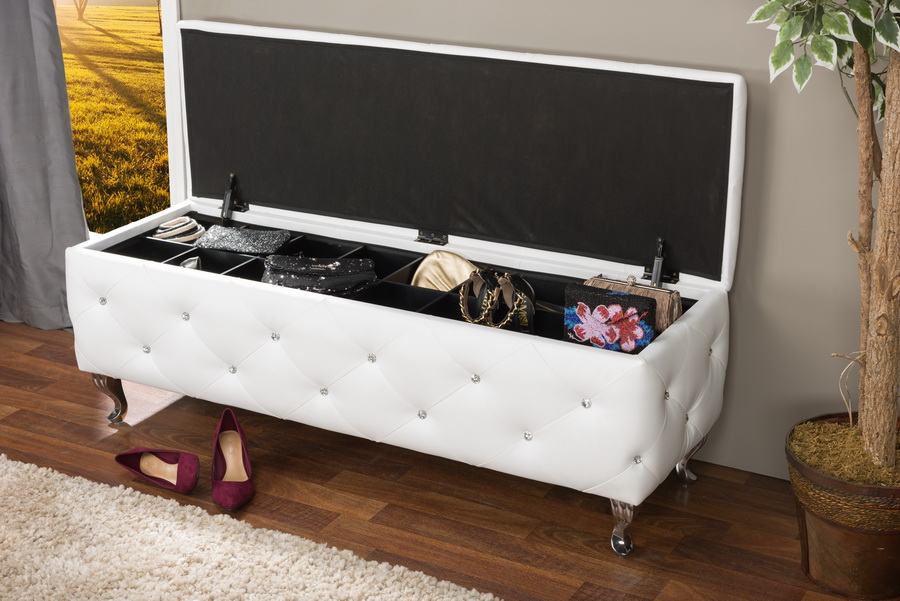 Delicieux ... Baxton Studio Seine White Leather Contemporary Storage Ottoman    BBT3112 White Storage Bench