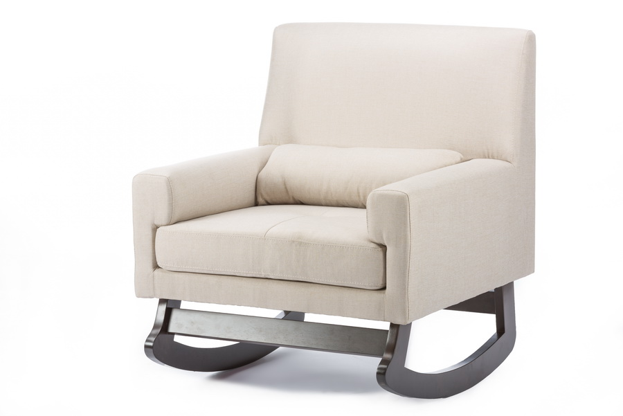 ... Linen Contemporary Rocking Chair with Pillow - BBT5121-Light Beige-RC