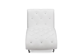 Baxton Studio Pease Contemporary White Faux Leather Upholstered Crystal Button Tufted Chaise Lounge  One (1) Chaise Living Room Furniture/White/Chaise Lounge/Modern Furniture/Faux Leather Upholstery