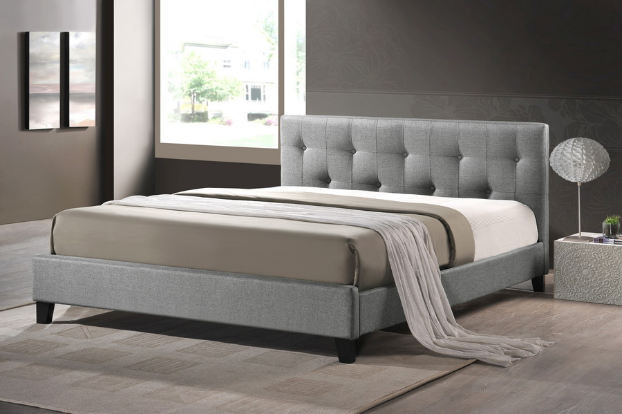 Baxton Studio Annette Gray Linen Modern Bed With Upholstered Headboard
