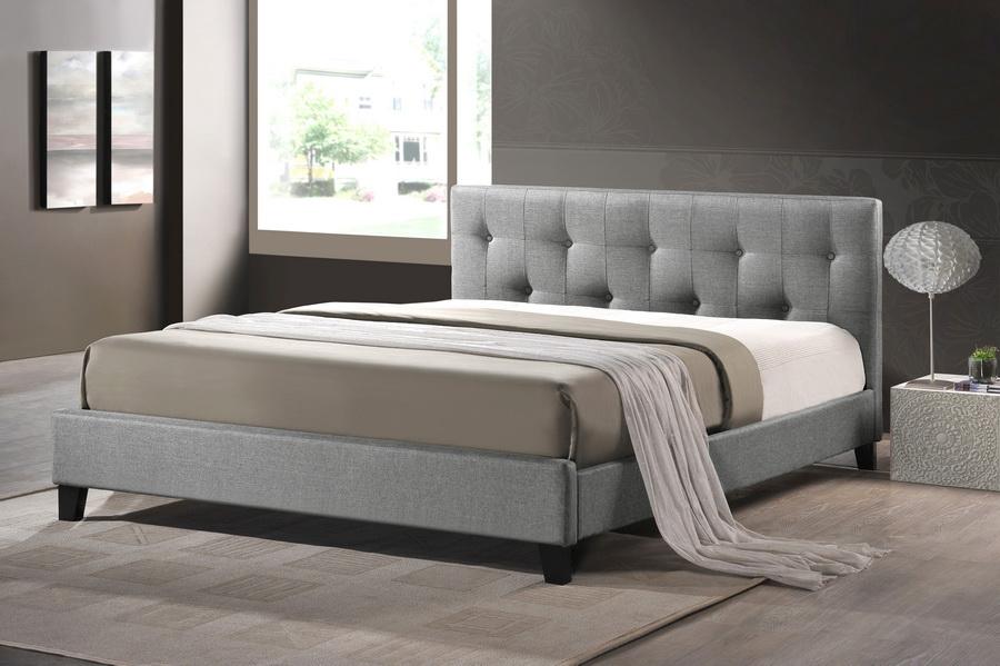Quincy Linen Platform Bed Gray King