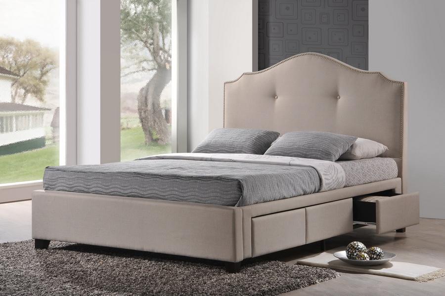 Baxton Studio Armeena Beige Linen Modern Storage Bed With Upholstered Headboard Queen Size Bbt6329