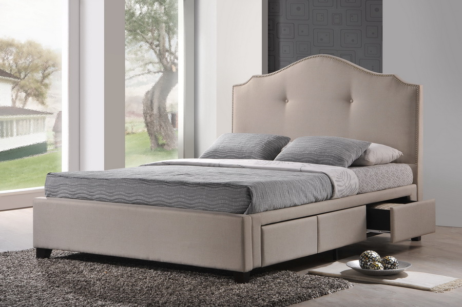 ... Baxton Studio Armeena Beige Linen Modern Storage Bed With Upholstered  Headboard   Queen Size   BBT6329