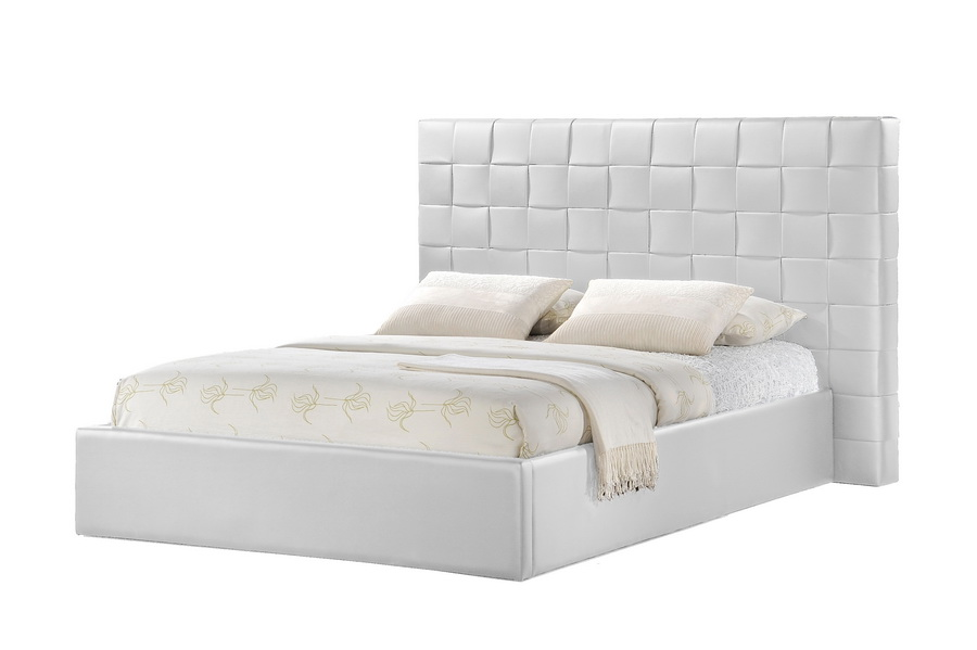 modern white tufted headboard bed group bedroom