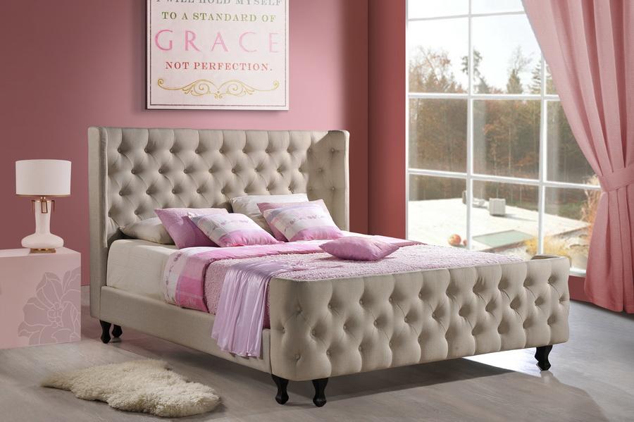 ... Baxton Studio Francesca Beige Linen Modern Platform Bed   King Size    BBT6354 King