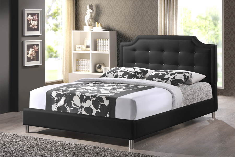 Baxton Studio Carlotta Black Modern Bed with Upholstered Headboard ...