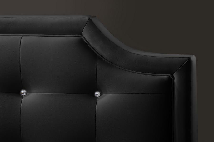 Baxton Studio Carlotta Black Modern Bed With Upholstered Headboard Full Size Bbt6376