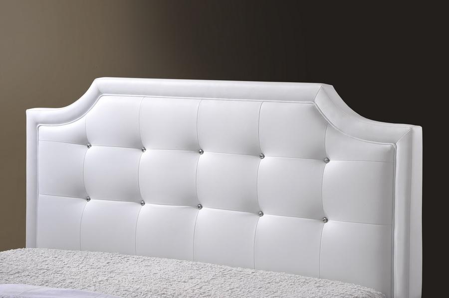 Baxton Studio Carlotta White Modern Bed With Upholstered Headboard Queen Size Bbt6376
