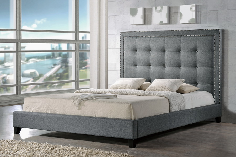 Baxton Studio Hirst Gray Platform Bed Queen Size With