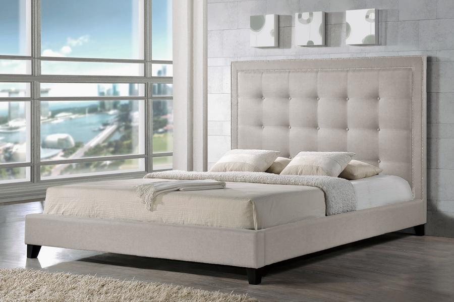 Baxton Studio Hirst Light Beige Platform Bed King Size Wholesale Interiors