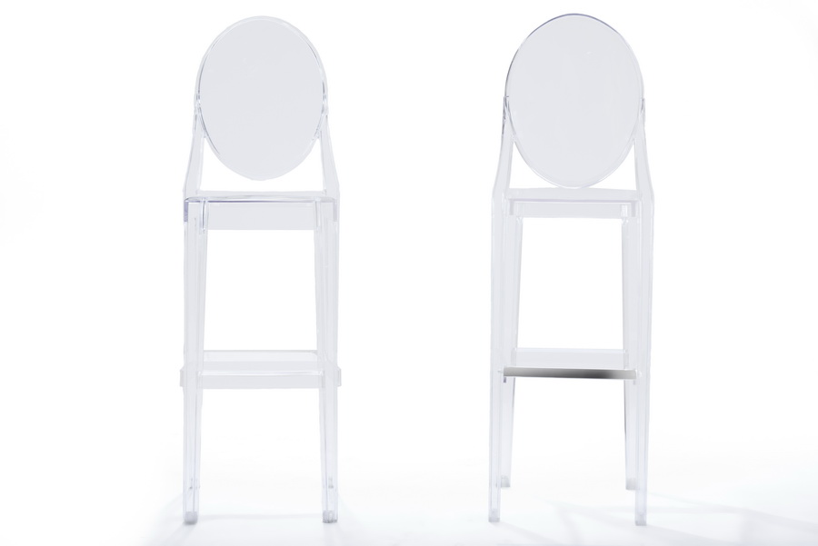 ... Baxton Studio Infinity Clear Plastic Contemporary Bar Stool (Set Of 2)    BS  ...