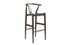 Wholesale Interiors Baxton Studio Mid-Century Modern Wishbone Stool - Dark Brown Wood Y Stool With Black Seat