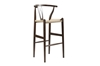 Wholesale Interiors Baxton Studio Mid-Century Modern Wishbone Stool - Dark Brown Wood Y Stool