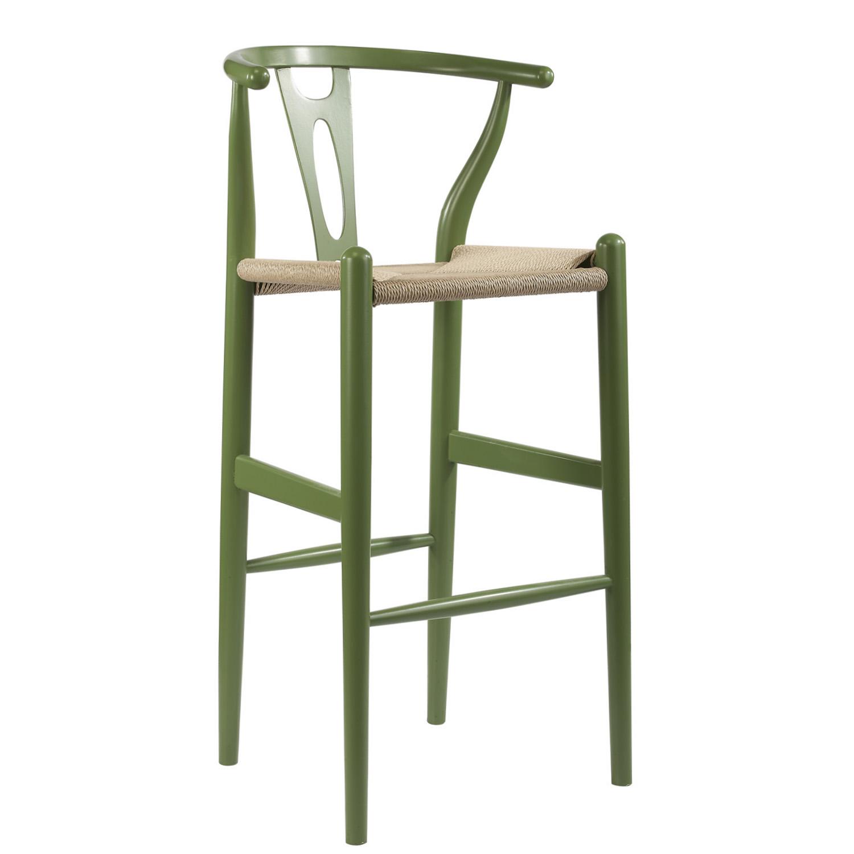 Mid century modern wishbone stool green wood y stool bs 541a