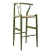 Wholesale Interiors Mid-Century Modern Wishbone Stool - Green Wood Y Stool